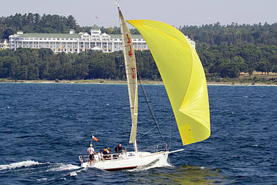 Chicago To Mackinac Yacht Race Sailboat With Grand Hotel Poster