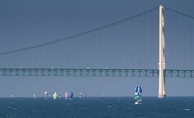Chicago To Mackinac Yacht Race Sailboats With Mackinac Bridge Poster