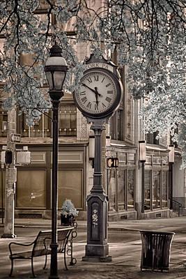 Clock On Street Poster