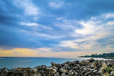 Cloudy City Coastline Poster