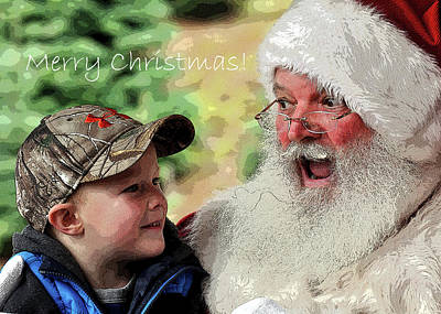 Poster featuring the photograph Cody Santa Greeting by Jerry Sodorff