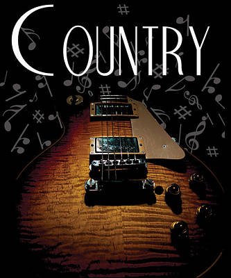 Color Country Music Guitar Notes Poster