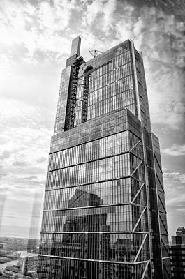 Poster featuring the photograph Comcast Technology Center - Philadelphia In Black And White by Bill Cannon