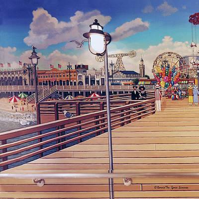 Coney Island Boardwalk Pillow Mural #1 Poster