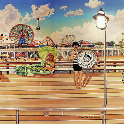 Coney Island Boardwalk Pillow Mural #4 Poster
