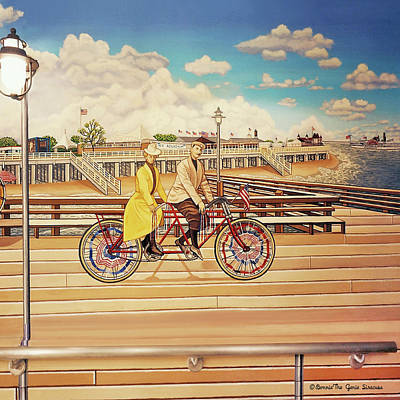 Coney Island Boardwalk Pillow Mural #5 Poster