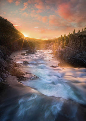 Poster featuring the photograph Cotton Candy Sunrise / Swiftcurrent Falls, Glacier National Park  by Nicholas Parker
