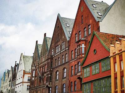 Crooked Buildings Of Bergen Norway In Europe Poster