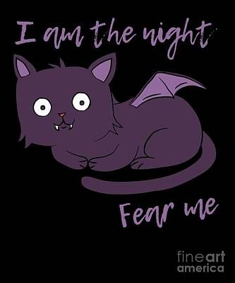 Cute Halloween Cat I Am The Night Fear Me Poster