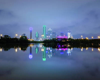 Poster featuring the photograph Dallas Cityscape Reflection by Robert Bellomy