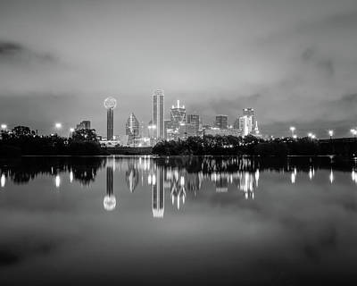Dallas Cityscape Reflections Black And White Poster