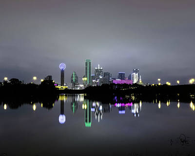 Dallas Texas Cityscape River Reflection Poster