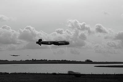 Poster featuring the photograph Dambusters Lancasters At Abberton Bw Version by Gary Eason