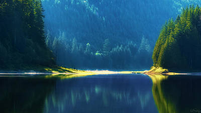 Poster featuring the photograph Dreamlike Focus Of Merrill Lake by Dee Browning