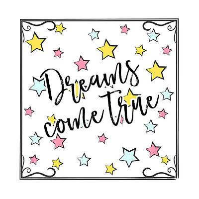 Dreams Come True - Baby Room Nursery Art Poster Print Poster