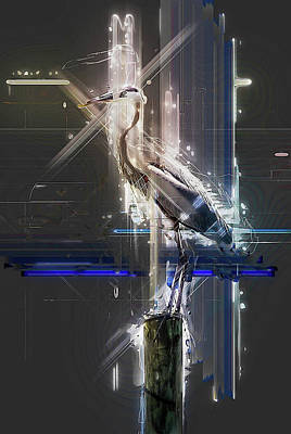 Electric Heron Poster