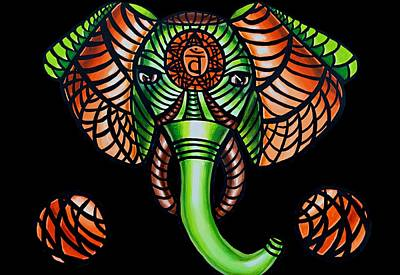 Elephant Head Painting Sacral Chakra Art Zentangle Elephant African Tribal Artwork Poster