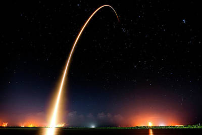 Falcon 9 Rocket Launch Outer Space Image Poster