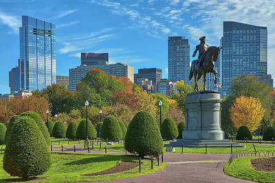 Poster featuring the photograph Fall Foliage Colors At The Boston Public Garden by Juergen Roth