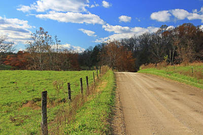 Poster featuring the photograph Fence And Country Road by Angela Murdock