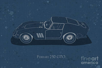 Ferrari 250 Gto - Side View - Stained Blueprint Poster