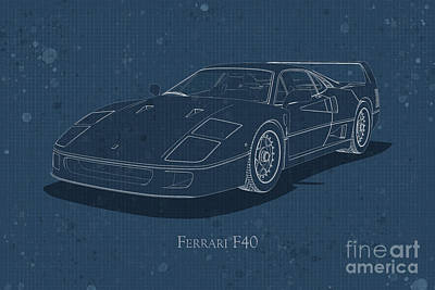 Ferrari F40 - Front View - Stained Blueprint Poster