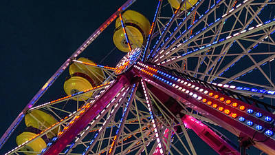 Ferris Wheel At Night Poster