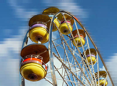 Ferris Wheel On Mosaic Blurred Background Poster