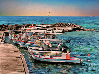 Poster featuring the photograph Fishing Boats Corfu by Leigh Kemp