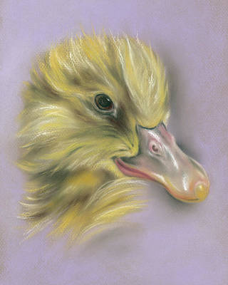 Poster featuring the pastel Fluffy Duckling Portrait by MM Anderson