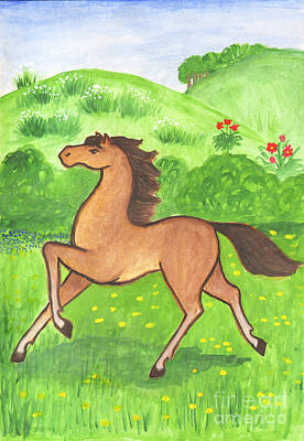 Foal In The Meadow Poster