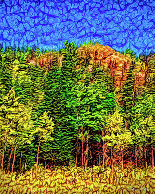 Poster featuring the digital art Forest Canyon Morning by Joel Bruce Wallach