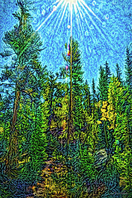 Poster featuring the digital art Forest Sunlit Grace by Joel Bruce Wallach