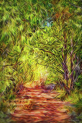 Poster featuring the digital art Forest Trail Journey by Joel Bruce Wallach