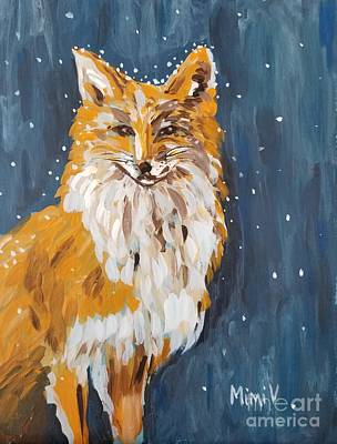 Poster featuring the painting Fox Winter Night by Maria Langgle