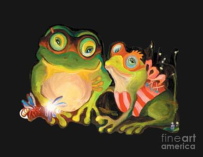 Poster featuring the painting Frogs Overlay  by Donna Hall