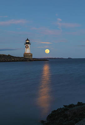 Poster featuring the photograph Full Cold Moon Rise Across Fort Pickering Light by Juergen Roth