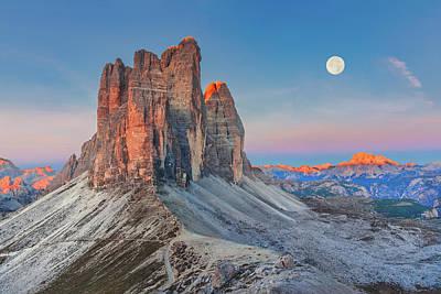 Full Moon Morning On Tre Cime Di Lavaredo Poster