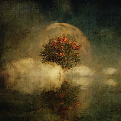 Poster featuring the digital art Full Moon Over Misty Water by Jan Keteleer