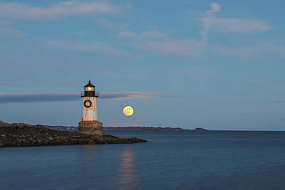Poster featuring the photograph Full Moon Rising At Fort Pickering Light by Juergen Roth