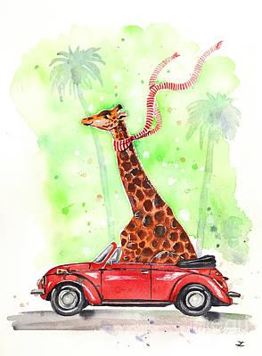 Giraffe In A Beetle Poster