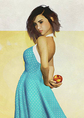 Poster featuring the digital art Girl Holding An Apple by Jan Keteleer