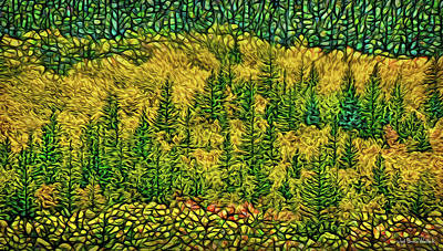 Poster featuring the digital art Golden Pine Forest by Joel Bruce Wallach