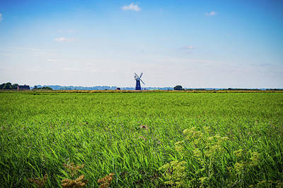 Poster featuring the photograph Green Grass Field With Windmill On Horizon by Scott Lyons