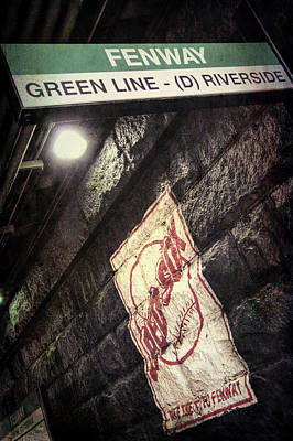 Poster featuring the photograph Green Line Boston T Stop At Fenway Park by Joann Vitali