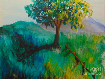 Poster featuring the painting Green Pastures by Saundra Johnson