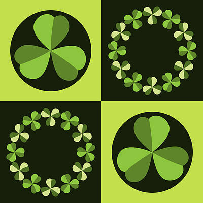 Poster featuring the digital art Green Shamrocks Circles And Squares by MM Anderson