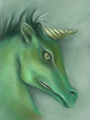 Poster featuring the pastel Green Water Horse Unicorn by MM Anderson