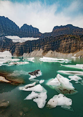 Poster featuring the photograph Grinnell Glacial Lake At Glacier National Park by Lon Dittrick