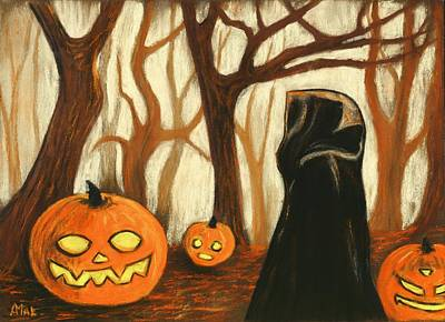 Poster featuring the painting Halloween Forest by Anastasiya Malakhova